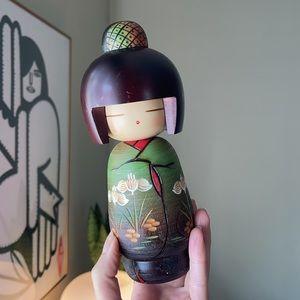 "Green Lotus Cute Girl Japanese Wooden Kokeshi Doll 8"""